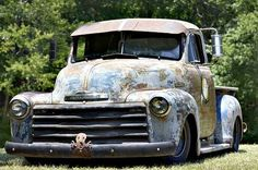 Now this one he could Chevy Rat Rod Truck. Nice and slammed, with the right amount of patina (or layers of rust and previous paint jobs). 1952 Chevy Truck, Classic Chevy Trucks, Dodge Trucks, Chevrolet Trucks, Chevrolet 3100, Dually Trucks, Truck Drivers, Cool Trucks, Big Trucks