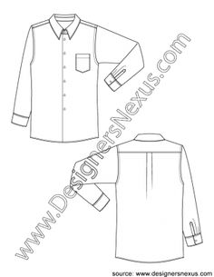 Technical Flat Sketch V1 Classic Mens Dress Shirt with Chest Pocket -FREE download and more mens flats in Illustrator & .png at designersnexus.com!