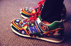 How dope are these Huichol New Balance sneakers from Ricardo Seco for S/S 2015 at NYFW?