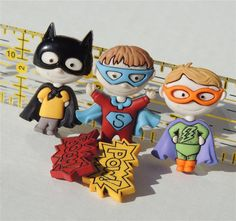 Superhero Buttons by Dress It Up by PiecefulDesign on Etsy, $2.20