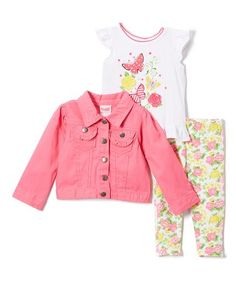 Loving this Pink Butterfly & Floral Lace-Hem Top & Leggings Set - Toddler on #zulily! #zulilyfinds