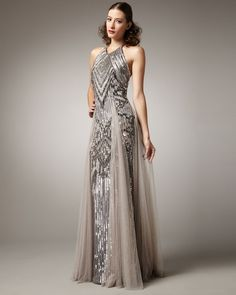 Pamella Roland Highneck Embroidered Gown in Gray (smoke)
