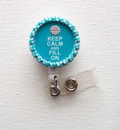 Keep Calm and Fill On Pill - Name Badge Holder - Cute Badge Reel - ID Badge Reel - Pharmacy Tech Badge - Pharmacist Badge on Etsy, $6.00