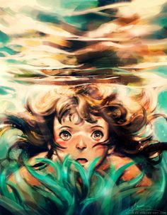 """""""The River"""" by Alice X. Zhang -- Reminds me of the Studio Ghibli movie """"Ponyo. Except I think Ponyo had red hair. The River, Hayao Miyazaki, Illustrations, Illustration Art, Chihiro Y Haku, Alice, Ghibli Movies, Spirited Away, Les Oeuvres"""