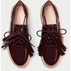 PLATFORM BROGUES WITH FRINGING - View all-SHOES-WOMAN | ZARA... ($60) ❤ liked on Polyvore featuring shoes, oxfords, platform oxfords, platform brogues, platform brogue shoes, balmoral oxfords and brogue shoes