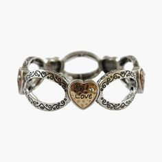 Five hearts inspirational bracelet. These lovely bracelets are made from a metal alloy and then rhodium polished to make them non allergenic and preserve colour. This bracelet features:- Built with a metal alloy and rhodium polished- Five hearts wi