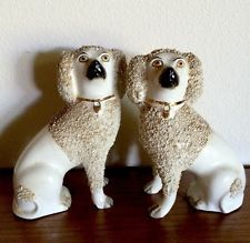 """Antique Staffordshire Poodle Dog Beautiful Old Pair Lg.8"""" X 6"""""""