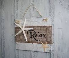 RELAX Beach Burlap Sign with Starfish Tropical by NaturesGlow Beach Themed Crafts, Ocean Crafts, Beach Crafts, Seashell Projects, Seashell Crafts, Nautical Bathroom Decor, Coastal Decor, Tropical Decor, Craft Projects For Adults