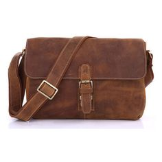 Vintage crazy horse leather terracotta satchel bag ($179) ❤ liked on Polyvore featuring men's fashion, men's bags and vintage men's fashion
