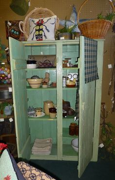 Nice green cupboard/cabinet Spotted at Angela's Attic in So. Beloit, Illinois, Dealer #31.