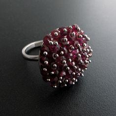 Emmanuela.gr - Handmade Jewelry - Garnet Stones in Sterling Silver Ring