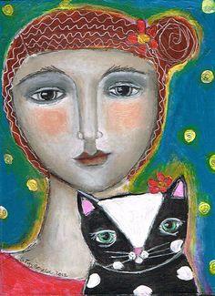 Mixed Media Painting Print Modern Folk Art Expressive  kitty jujubes emporium
