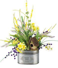 Spring Arrangement with birdhouse