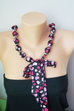 Black Pink  Japanese Fabric Necklace  Fabric Bead by ilkcanArt