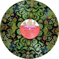 Vinyl Record Mixed Media Painting
