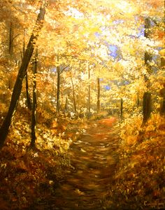 Gorgeous oil painting of autumn leaves