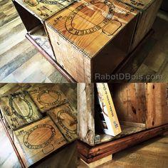 Table de salon caisse de beurre antique. Coffee table, old butter box.