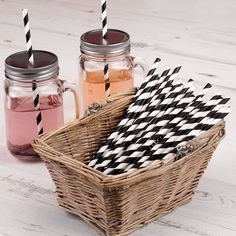 Black and white stripes straws look great presented in baskets to help themselves or placed in a mason jar by Fuschia...