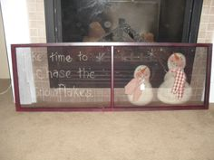 Convert into Repurposed/Refinished Fire Pace Screen Painted Window Screens, Painted Doors, Primitive Christmas, Christmas Snowman, Primitive Snowmen, Snowman Crafts, Holiday Crafts, Old Window Projects, Window Ideas