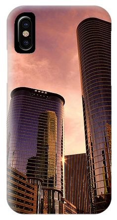 Skyscraper Sunset Phone case - available for iPhone or Galaxy phones. Houston, Texas. Also available as prints, posters, phone cases, pillows, tote bags, beach towels, coffee mugs, shower curtains, spiral notebooks, fleece blankets, yoga mats, and on T-shirts.