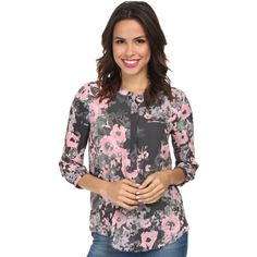 NYDJ Women's 3/4 Sleeve Printed Henley Blouse ($36) ❤ liked on Polyvore