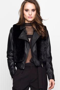 Black Faux-Fur Jacket TALLY WEiJL