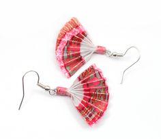 Boucles d'oreilles -Eventails rose - Origami- en papier japonais : Boucles d'oreille par paper-art
