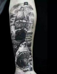 70 Ship Tattoo Ideas For Men - A Sea Of Sailor Designs - Guy's Clipper Ship Tattoos On Forearm - Ocean Tattoos, Shark Tattoos, Dope Tattoos, Forearm Tattoos, Body Art Tattoos, Tribal Tattoos, Tatoos, Navy Tattoos, Nautical Tattoos