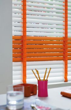 Luxury gloss white and orange wooden blinds with orange tapes. Wood Valance, Wood Blinds, Orange Blinds, Childrens Blinds, Office Blinds, Orange Office, Timber Slats, Blinds For You, 1940s Home
