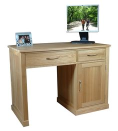 mobel oak single pedestal computer desk the wooden furniture store