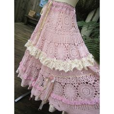Vintage Kitty.. vintage crochet.. romantic full circle skirt.. shabby chic, lace, roses,hand dyed, pink, XSMALL - SMALL