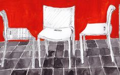 Air Chairs by Jasper Morrison.  Drawing by Nancy MacAlpine. Look at wearesoarty.blogspot.com