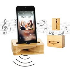 Wooden Cell Phone Stand, Coopsion Phone Holder Wooden Sou...