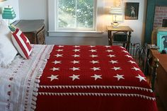 Stars quilt in red & white nice sawtooth borders