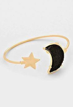 Druzy Crescent Moon & Star Cuff Bracelet - Black