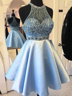 blue homecoming dress#halter homecoming dress#beaded prom dress#rhinestones prom dresses#homecoming dresses short