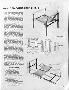 Demountable chair / safari chair / british army officer chair from Sunset Books… Folding Furniture, Ikea Furniture, Furniture Plans, Folding Chair, Nomadic Furniture, Campaign Furniture, Woodworking Projects That Sell, Woodworking Plans, Inexpensive Furniture