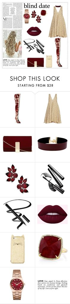 """""""Blind Date"""" by danielle-valentine-666 ❤ liked on Polyvore featuring Rubeus, Sandra Mansour, Dorothy Perkins, Vanessa Mooney, Chantecaille, Kate Spade, Anne Sisteron, Michael Kors and ADZif"""