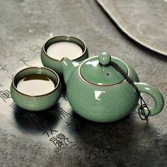 Juego de té de porcelana china tradicional, Longquan Celadon esmaltado viajes juego de té, buen regalo para pareja envío gratis