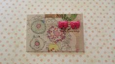 hot pink button bow post earrings £2.20