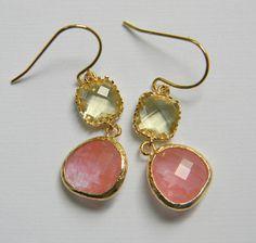 Gold Bridesmaid Earrings - Yellow and Pink Grapefruit Earrings - Czech Glass - Boho - Bridal - Bohemian. $30.00, via Etsy.