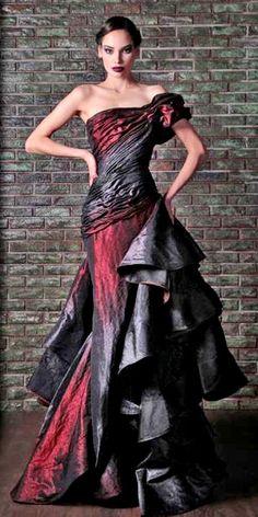 Black Wedding Dresses, Elegant Dresses, Pretty Dresses, Black Weddings, Beautiful Gowns, Beautiful Outfits, Look Fashion, Fashion Design, Vestidos Vintage