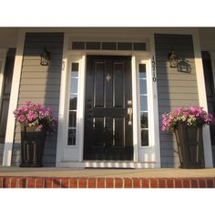 Mayne Fairfield Tall Patio Planter - Garden Planters at Hayneedle Tall Planters, Outdoor Planters, Outdoor Landscaping, Black Planters, Front Porch Flowers, Front Porches, Outdoor Rooms, Outdoor Decor, Outdoor Ideas