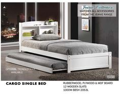 Cargo Single Bed with storage headboard $499 with optional trundle $199. www.bambinohome.com.au