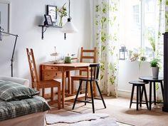 Salón con comedor mini: mesa con alas abatibles
