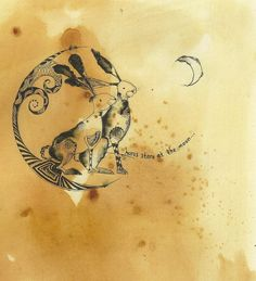 ARTFINDER: Hares Stare At The Moon by Jilly Henderson - 'Hares Stare At The Moon' is a limited edition print from an original drawing in pencil, pen and ink on hand stained paper. 160mm x 200mm in size. This deli...