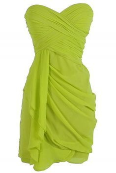 Dreaming of You Chiffon Drape Party Dress in Lime by Minuet    www.lilyboutique.com