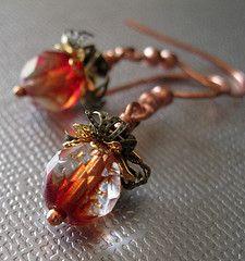 Red filigree copper earrings Handmade jewelry