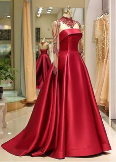 onlybridals Long Sleeve Prom Dresses High Neck Burgundy Long Prom Dress Satin Evening Dress - 2020 New Prom Dresses Fashion - Fashion Of The Year Long Sleeve Evening Dresses, Prom Dresses Long With Sleeves, Cheap Evening Dresses, Elegant Dresses, Evening Gowns, Dress Long, Red Quinceanera Dresses, Mode Glamour, Princess Prom Dresses