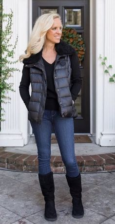 #fall #outfits  women's black bubble jacket and blue jeans